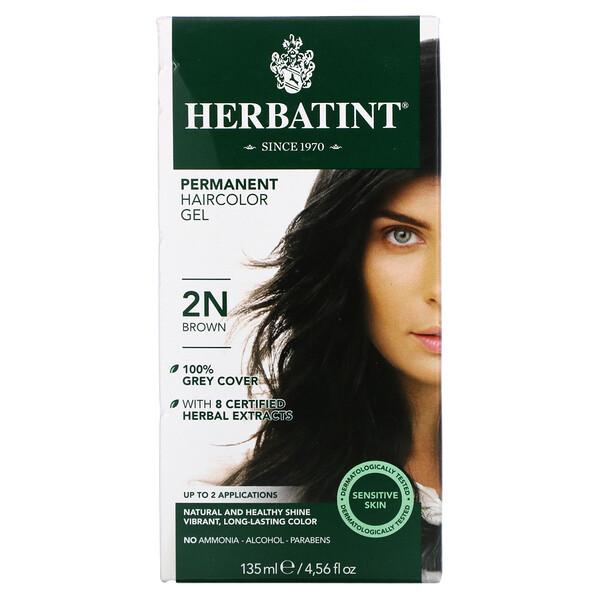 Permanent Haircolor Gel, 2N, Brown, 4.56 fl oz (135 ml)