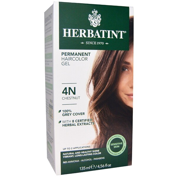 Permanent Herbal Haircolor Gel、4N、栗色、4.56液量オンス(135 ml)