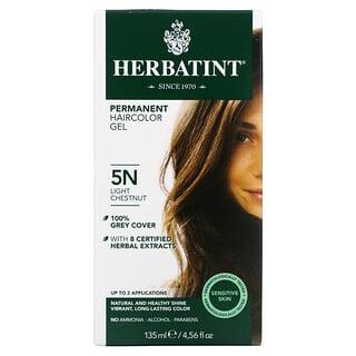 Herbatint, 长期染发凝胶,5N,浅栗色,4.56 液量盎司(135 毫升)