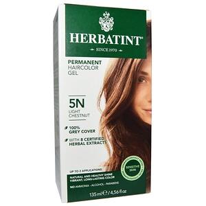 Herbatint, Перманентная краска-гель для волос, 5N, светлый каштан, 4,56 жидкой унции (135 мл) инструкция, применение, состав, противопоказания