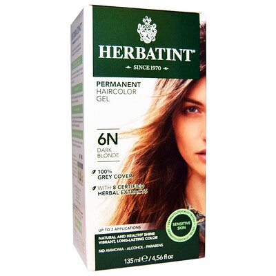 Купить Перманентная растительная краска-гель для волос, 6N, темный блондин, 4, 56 жидкой унции (135 мл)