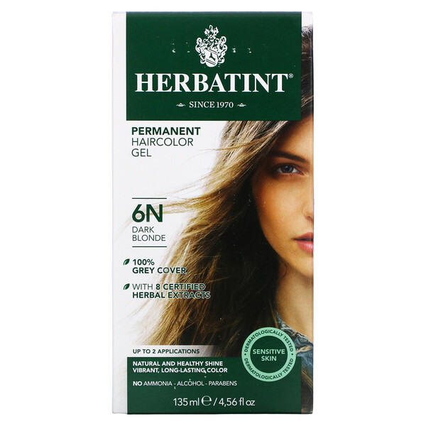 パーマネント ハーブヘアカラージェル(Permanent Herbal Haircolor Gel), 6N, ダークブロンド, 4.56液量オンス(135 ml)