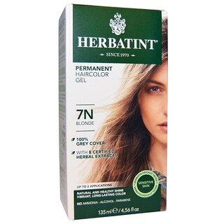 Herbatint, Gel de Tinte para el Cabello Permanente, 7N Blonde, 4.56 fl oz (135 ml)