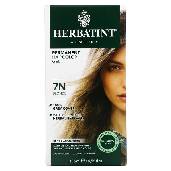 Стойкая гель-краска для волос, 7N блонд, 135 мл (4,56 жидкой унции)