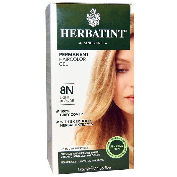Permanent Herbal Haircolor Gel, 8N, 연한 블론드, 4.56 액량 온스 (135 ml)