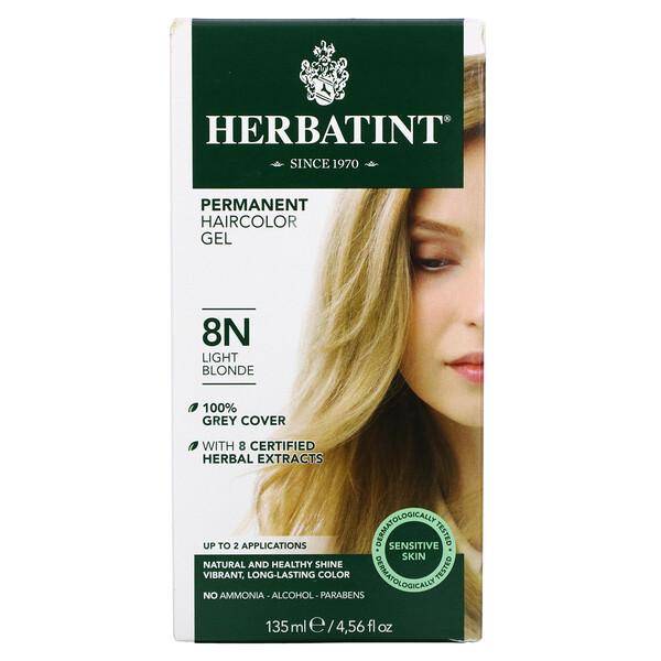 Permanent Haircolor Gel, 8N, Light Blonde, 4.56 fl oz (135 ml)