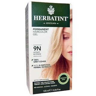 Herbatint, 퍼머넌트 허브 헤어컬러 겔, 9N, 허니 블론드, 4.56 액량 온스 (135 밀리리터)