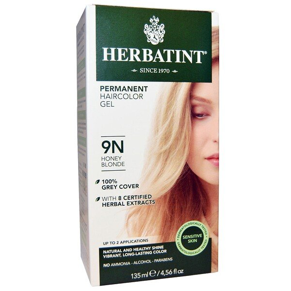 Herbatint, Permanent Haircolor Gel, 9N, Honey Blonde, 4.56 fl oz (135 ml)