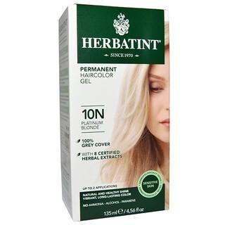 Herbatint, Gel de Tinte para el Cabello Permanente, 10N Rubio Platinado, 4.56 fl oz (135 ml)