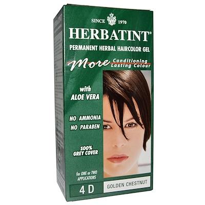 Купить Стойкий растительный гель-краска для волос, 4D, золотой каштан, 4, 56 жидких унций (135 мл)