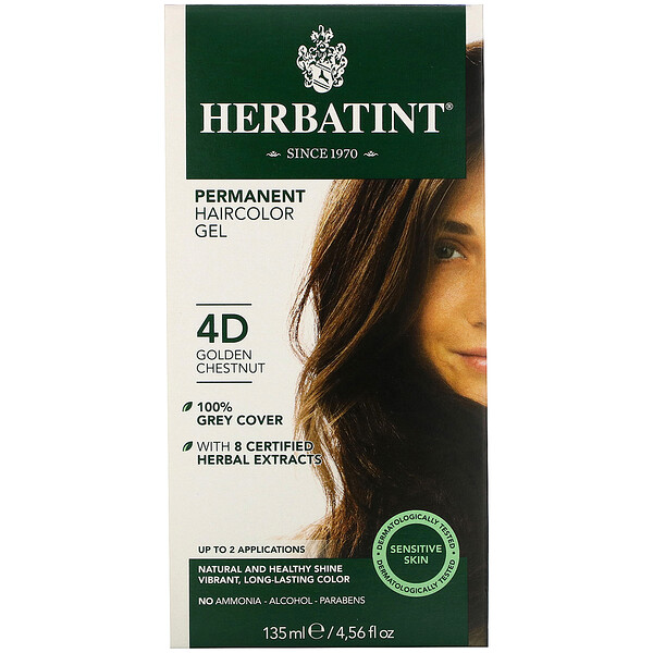 Permanent  Haircolor Gel, 4D, Golden Chestnut, 4.56 fl oz (135 ml)