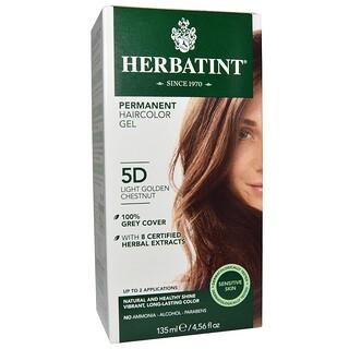 Herbatint, パーマネントへアカラージェル(Permanent Haircolor Gel), 5D, 薄い黄金栗(Light Golden Chestnut), 4.56液量オンス(135 ml)