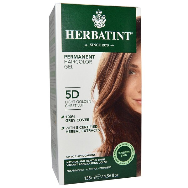 Herbatint, Permanent Haircolor Gel, 5D, Light Golden Chestnut, 4.56 fl oz (135 ml)