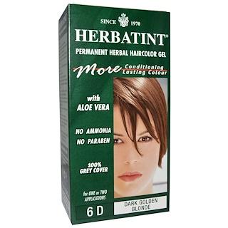 Herbatint, Permanent Herbal Haircolor Gel, 6D, Dark Golden Blonde, 4.56 fl oz (135 ml)