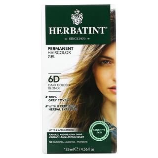 Herbatint, Permanent Haircolor Gel, 6D, Dark Golden Blonde, 4.56 fl oz (135 ml)