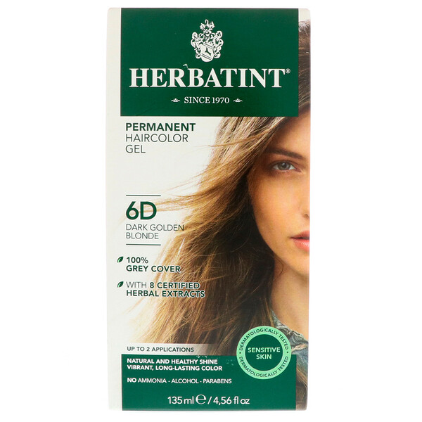 Herbatint, Permanent Haircolor Gel, 6D, Dark Golden Blonde, 4.56 fl oz (135 ml)