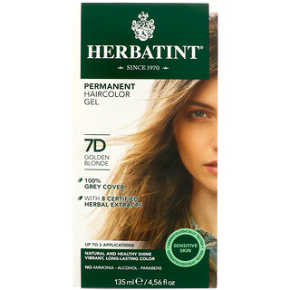 Herbatint, Permanent Haircolor Gel, 7D, Golden Blonde, 4.56 fl oz (135 ml)