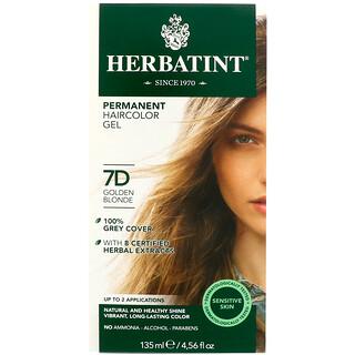 Herbatint, Permanent Herbal Haircolor Gel, 7D, Golden Blonde, 4.56 fl oz (135 ml)