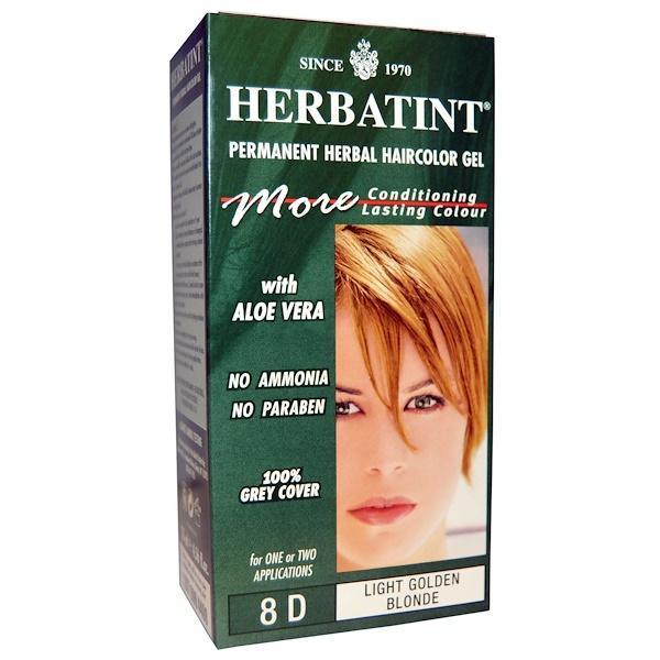 Herbatint, 永久性草本染髮凝露,8D淺金黃色,4、56液盎司(135毫升)