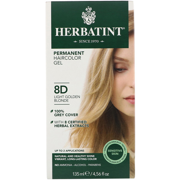 Herbatint, Permanent Herbal Haircolor Gel, 8D, Light Golden Blonde, 4.56 fl oz (135 ml)