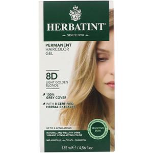 Хербатинт, Permanent Haircolor Gel, 8D, Light Golden Blonde, 4.56 fl oz (135 ml) отзывы