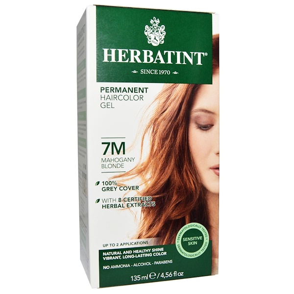 Herbatint, Permanent Haircolor Gel, 7M, Mahogany Blonde, 4.56 fl oz (135 ml) (Discontinued Item)