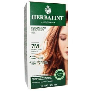 Хербатинт, Permanent Haircolor Gel, 7M, Mahogany Blonde, 4.56 fl oz (135 ml) отзывы покупателей