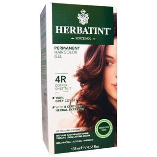 Herbatint, Permanent Haircolor Gel, 4R, Copper Chestnut, 4.56 fl oz (135 ml)