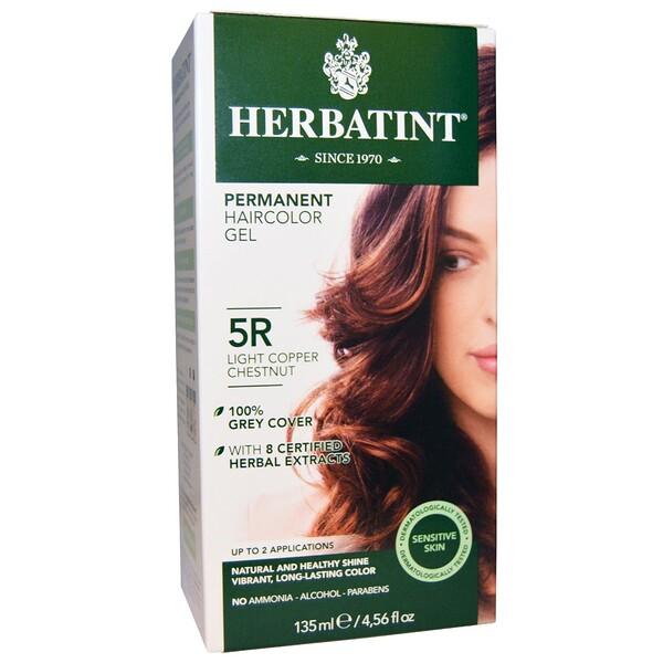 Herbatint, 퍼머넌트 헤어컬러 겔, 5R 라이트 코퍼 체스트넛, 4.56 액량 온스 (135 밀리리터)