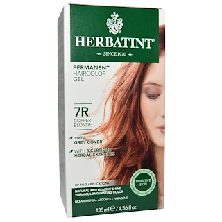 Herbatint, Permanent Herbal Haircolor Gel, 7R, Copper Blonde, 4,56 fl oz (135 ml)