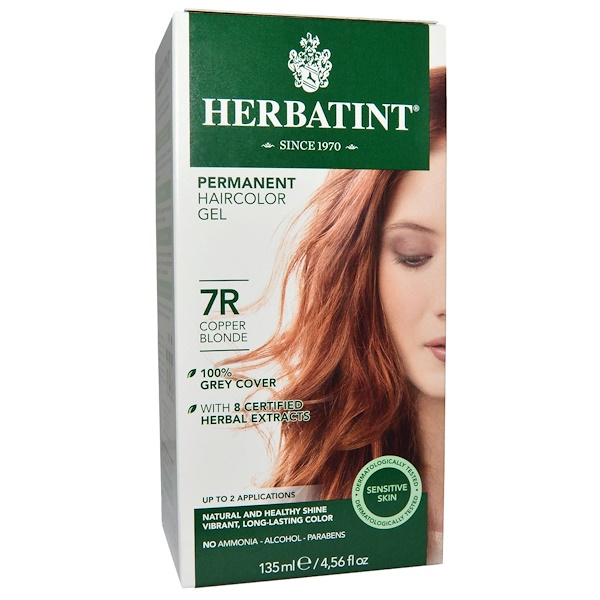 Permanent Haircolor Gel, 7R, Copper Blonde, 4.56 fl oz (135 ml)