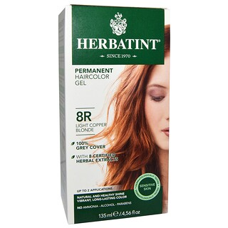 Herbatint, Permanent Haircolor Gel, 8R, Light Copper Blonde, 4.56 fl oz (135 ml)
