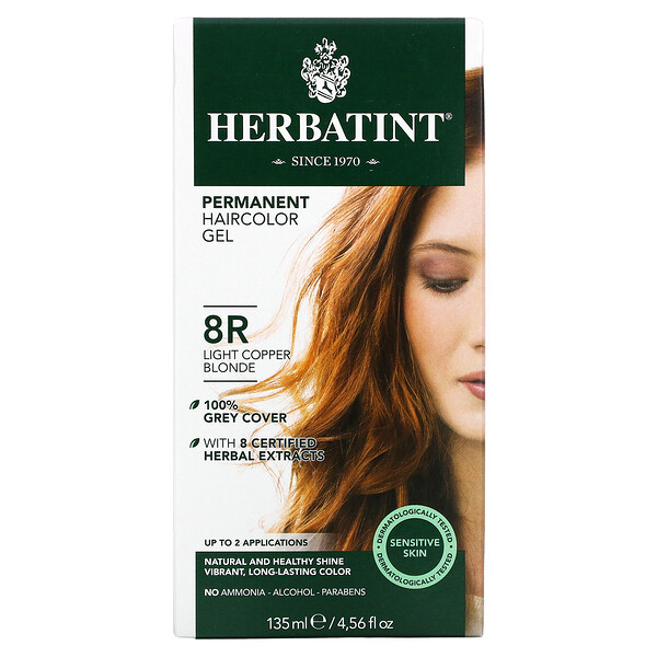 Permanent Haircolor Gel, 8R, Light Copper Blonde, 4.56 fl oz (135 ml)
