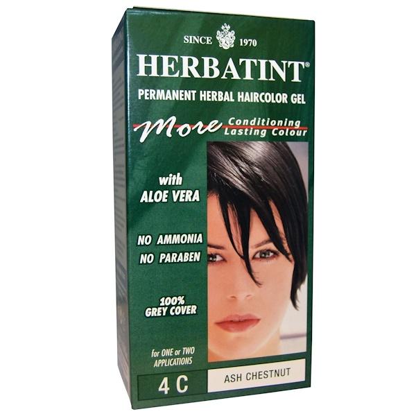 Herbatint, Permanent Herbal Haircolor Gel, 4C, Ash Chestnut, 4.56 fl oz (135 ml)