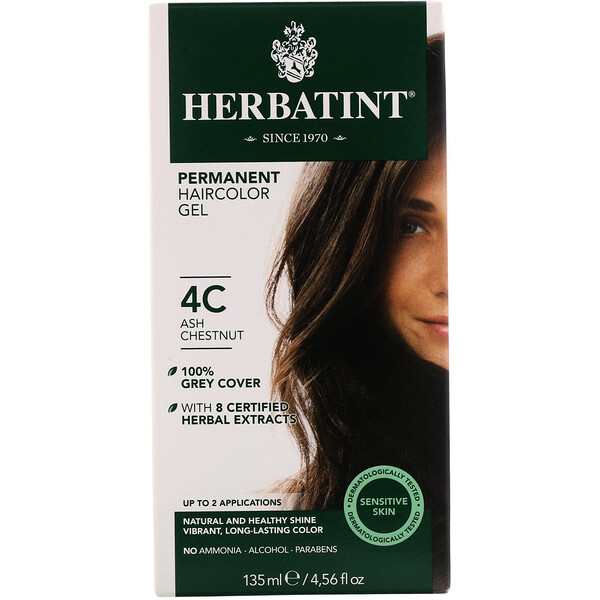 Herbatint, Permanent Haircolor Gel, 4C, Ash Chestnut, 4.56 fl oz (135 ml)