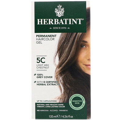 Купить Стойкий растительный гель-краска для волос, 5C светлый пепельный каштан, 4, 5 жидких унции