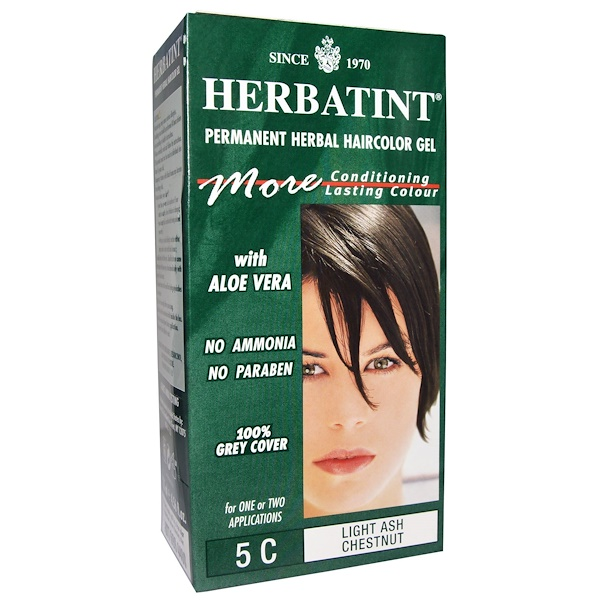Herbatint, Permanent Herbal Haircolor Gel, 5C, Light Ash Chestnut, 4.56 fl oz (135 ml)