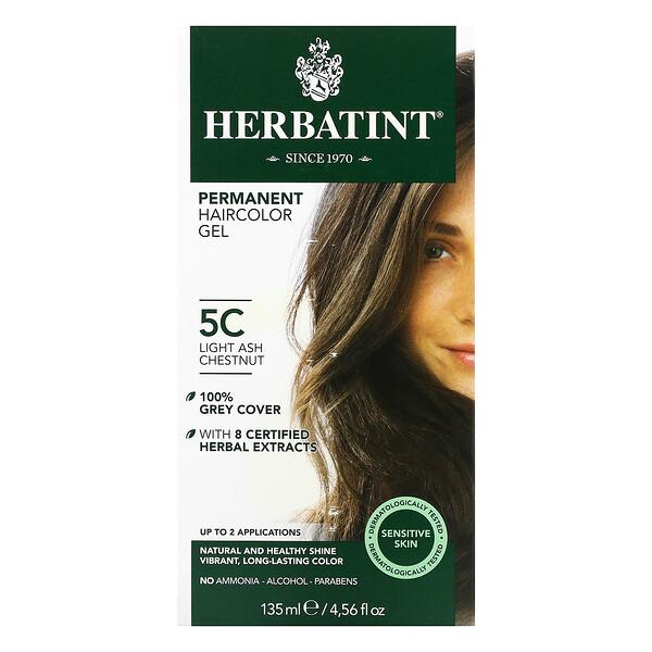 Tintura de hierbas permanente en gel para cabello, 5C Castaño Ceniza Claro, 4,5 fl oz (135 ml)