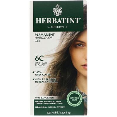Herbatint Стойкая гель-краска для волос, 6C, темный пепельный блондин, 135мл (4,56жидк.унции)