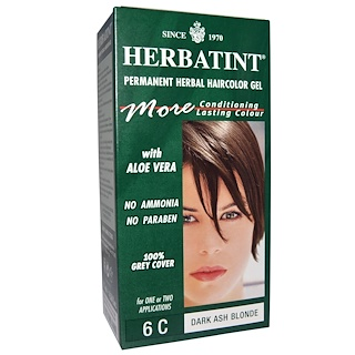 Herbatint, Permanent Herbal Haircolor Gel, 6C, Dark Ash Blonde, 4.56 fl oz (135 ml)