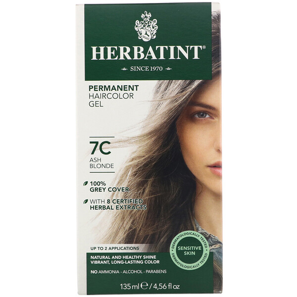 Herbatint, Permanent Haircolor Gel, 7C, Ash Blonde, 4.56 fl oz (135 ml)