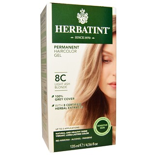Herbatint, Permanent Haircolor Gel, 8C, Light Ash Blonde, 4.56 fl oz (135 ml)