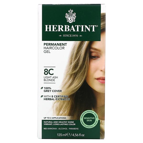Herbatint, 永久染髮凝膠,8C,淡灰金色,4.56 液量盎司(135 毫升)