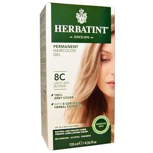 Herbatint, Перманентная краска-гель для волос, 8C, светлый пепельный блондин, 4,56 жидкой унции (135 мл) инструкция, применение, состав, противопоказания