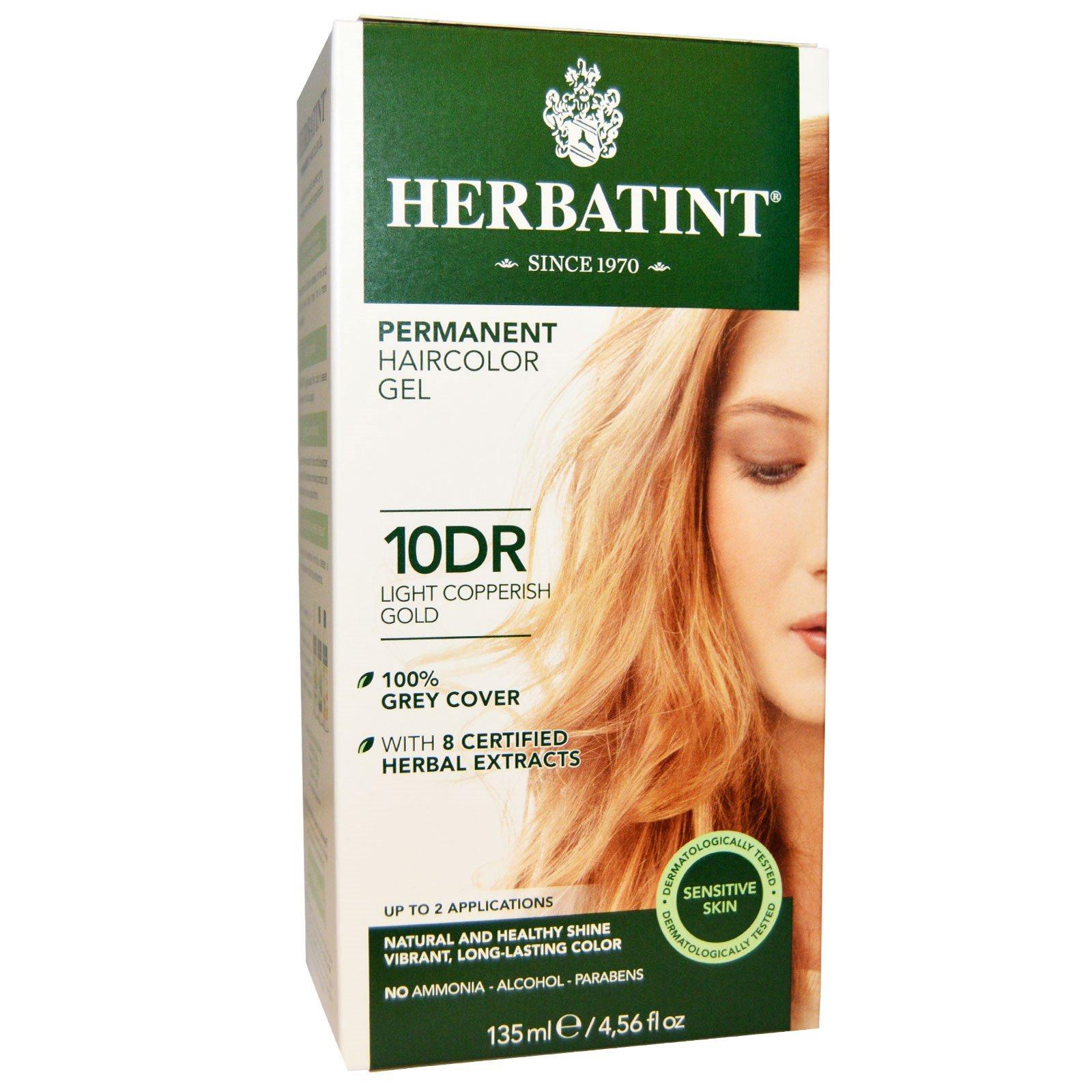 Herbatint, Перманентная краска-гель для волос, 10DR, светлый медно-золотой, 4,56 жидкой унции (135 мл)