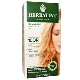 Herbatint, Permanent Haircolor Gel, 10DR, Light Copperish Gold, 4.56 fl oz (135 ml)