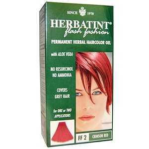 Хербатинт, Flash Fashion, Permanent Herbal Haircolor Gel, FF 2 Crimson Red, 4.56 fl oz (135 ml ) отзывы