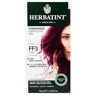 Herbatint, Permanent Herbal Haircolor Gel, FF 3, Plum, 4.56 fl oz (135 ml)