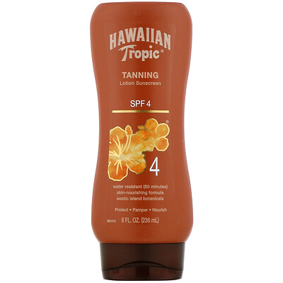 Hawaiian Tropic Tanning, Lotion Sunscreen, SPF 4, 8 fl oz (236 ml)