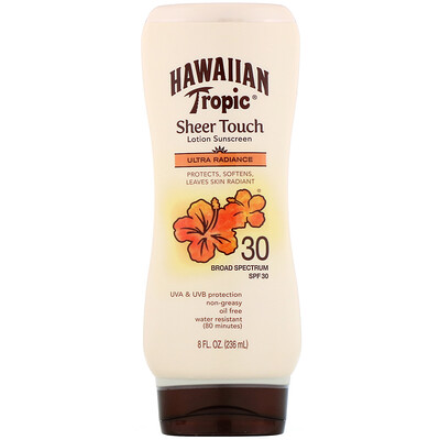 Hawaiian Tropic Sheer Touch, Ultra Radiance, солнцезащитный лосьон с SPF 30, 236мл